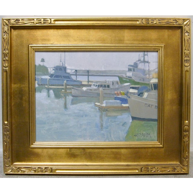 2010s Paul Strahm Original New California Boat Harbor Seascape Signed Oil Painting For Sale - Image 5 of 5