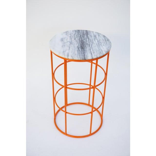 Carrara Marble & Orange Metal Fern Stand Pedestal Table - Image 2 of 11