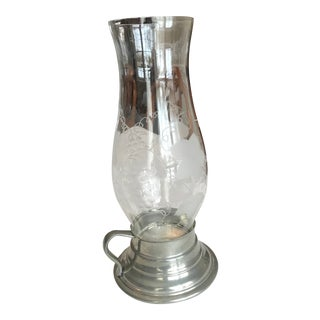 1950s Pewter Hurricane Candle Holder For Sale