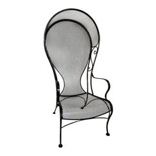 1950s Vintage Woodard Black Iron Hooded Porter Garden Chair For Sale