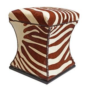 Zebra Cowhide Storage Ottoman