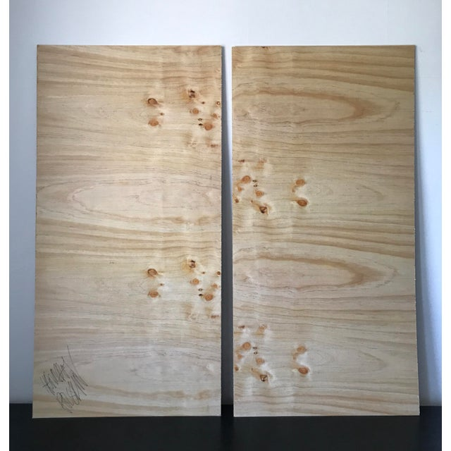 Wood Loop Abstract Acrylic Oversized Diptych Painting For Sale - Image 7 of 9