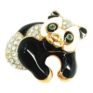 Panda Brooch by Kenneth Jay Lane For Sale