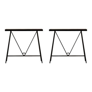 'Trapèze' Blackened Steel and Goatskin Consoles by Design Frères - a Pair For Sale