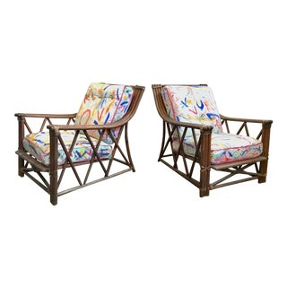 Bentwood Oak Lounge Chairs With Hand Painted Boho Fabric For Sale