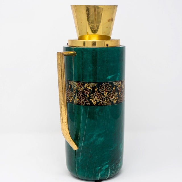 Aldo Tura Italian Green Leather and Brass Decanter by Aldo Tura for Macabo For Sale - Image 4 of 12