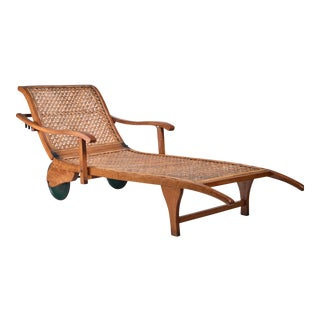 Beech and Woven Cane Garden Chaise on Wheels, Germany, 1920s For Sale