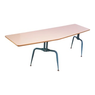 Vintage French Modern Laminated Plywood and Steel Adjustable Writing Table For Sale
