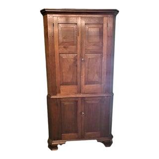Late 19th Century Walnut Corner Cupboard With Raised Panel Doors For Sale
