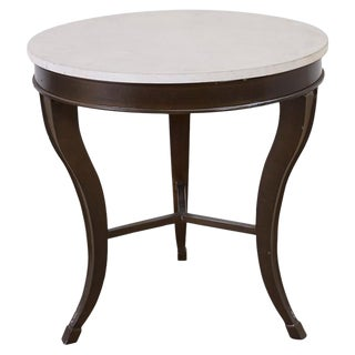 Iron and Stone Top Center Table or Drink Table For Sale