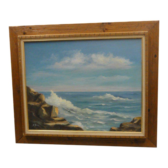 Mid Century Ocean Scene Painting - Image 1 of 10