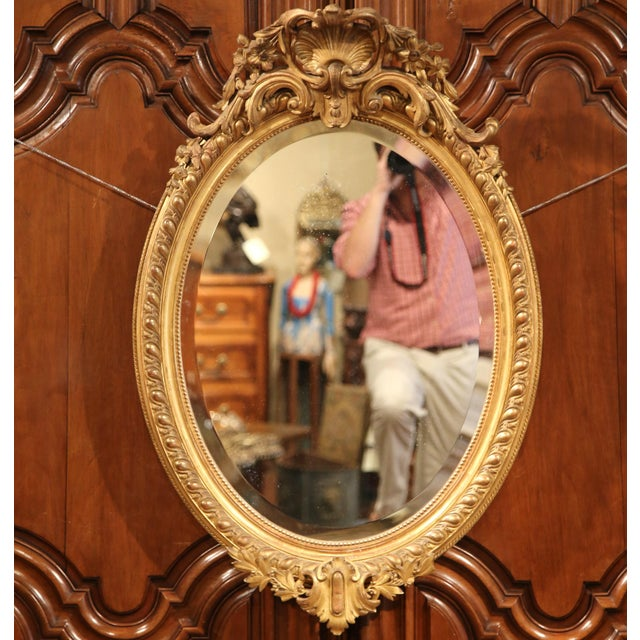Giltwood 19th Century French Louis XV Oval Gold Leaf Beveled Mirror with Carved Shell For Sale - Image 7 of 9
