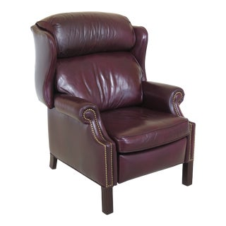1990s Vintage Hancock & Moore Burgundy Leather Wingback Recliner Chair For Sale