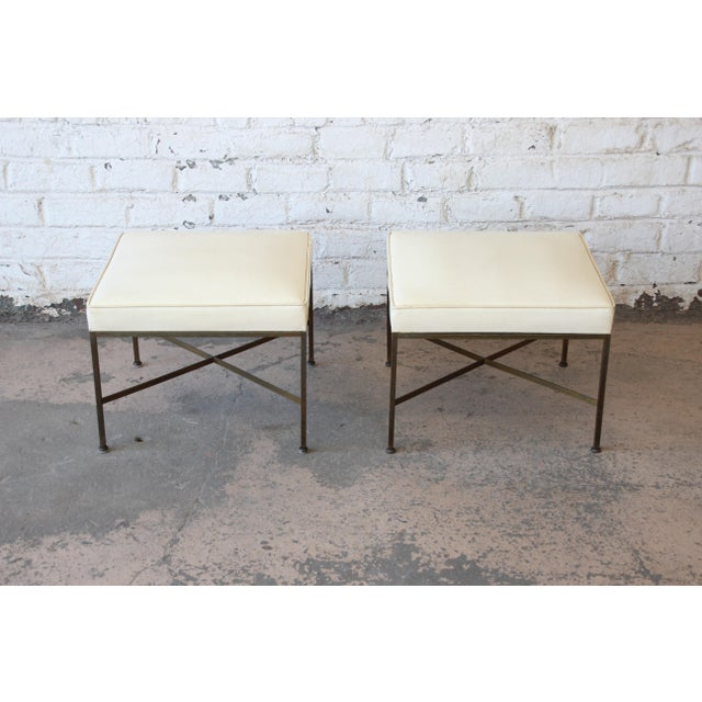 Contemporary Paul McCobb for Directional X-Base Brass and Upholstered Stools or Benches, Pair For Sale - Image 3 of 11