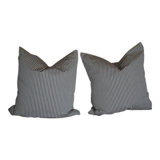 Navy French Ticking European Size Pillows - a Pair
