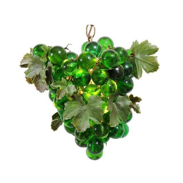 Light Green Midcentury Grape Cluster Light of Green Lucite For Sale - Image 8 of 8