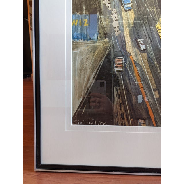 """1980s """"Times Square"""" Cityscape Lithograph, Framed For Sale - Image 9 of 12"""