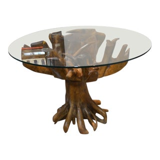 Live Teak Root Dining Table With Glass Top For Sale