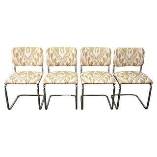 Ikat Cantilevered Chrome Chairs - Set of 4