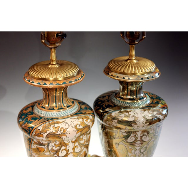 Metal Antique Gualdo Tadino Luster Pottery Italian Majolica Gargoyle Robbia Lamps - a Pair For Sale - Image 7 of 12