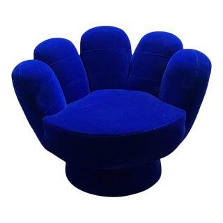 Vintage Velvet Blue Hand Chair For Sale