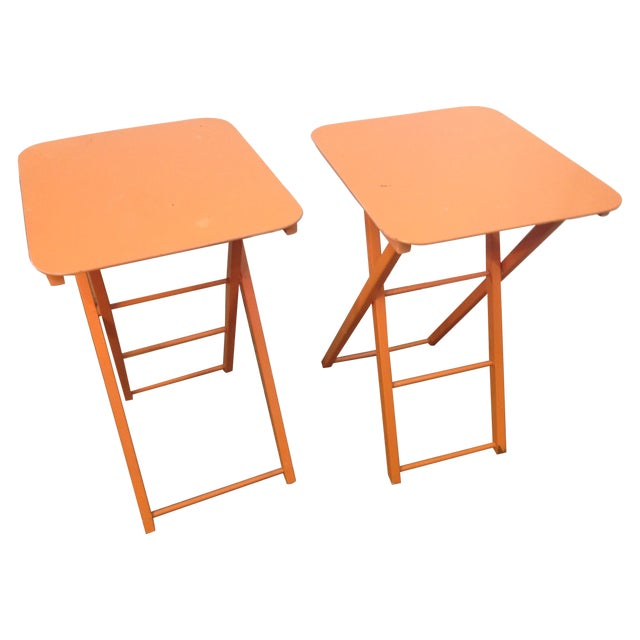 Orange Mid Century Collapsible Side Tables - Pair - Image 1 of 11