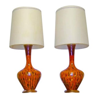 1950s Mid-Century Modern Tiger Stripe Motif Side Table Lamps - a Pair For Sale