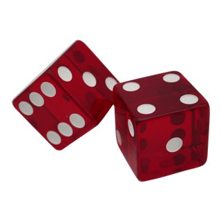 1960s Jumbo Red Casino Dice - a Pair For Sale