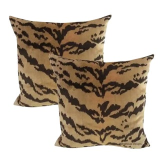 Nobilis of Paris From the Salambo Collection , Velvet Tiger Down Feather Accent Pillows - Set of 2 For Sale