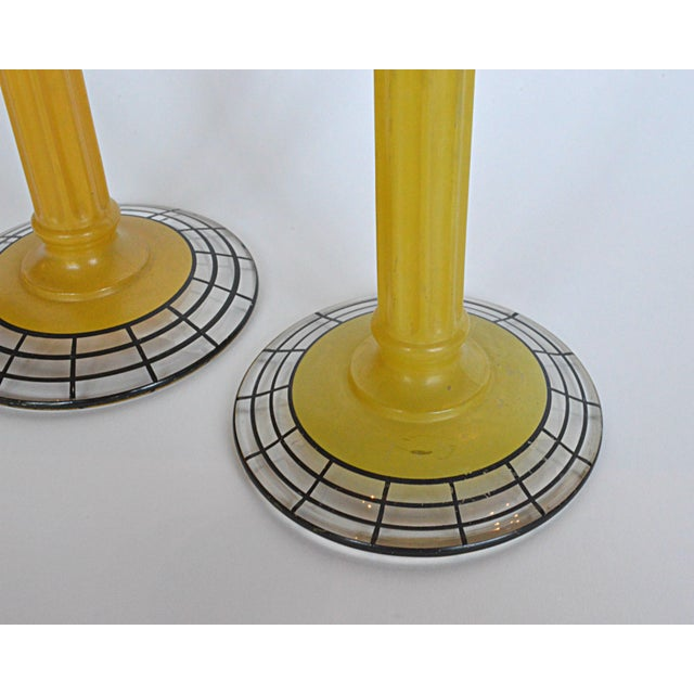 Art Deco Yellow Glass Candlesticks - Pair For Sale - Image 4 of 6