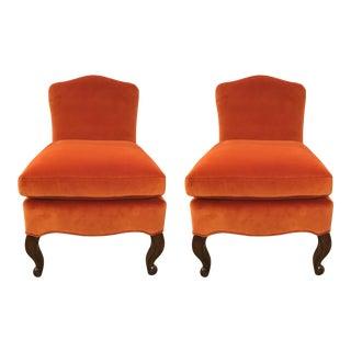 Celerie Kemble for Henredon Millie Orange Slipper Chairs For Sale