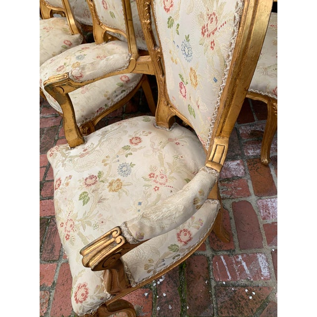 Antique Gold Leaf Painted Louis XIV Style Chairs - Set of 8 For Sale - Image 9 of 12