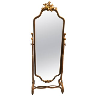 Hand-Carved Walnut Gilt Cheval Mirror
