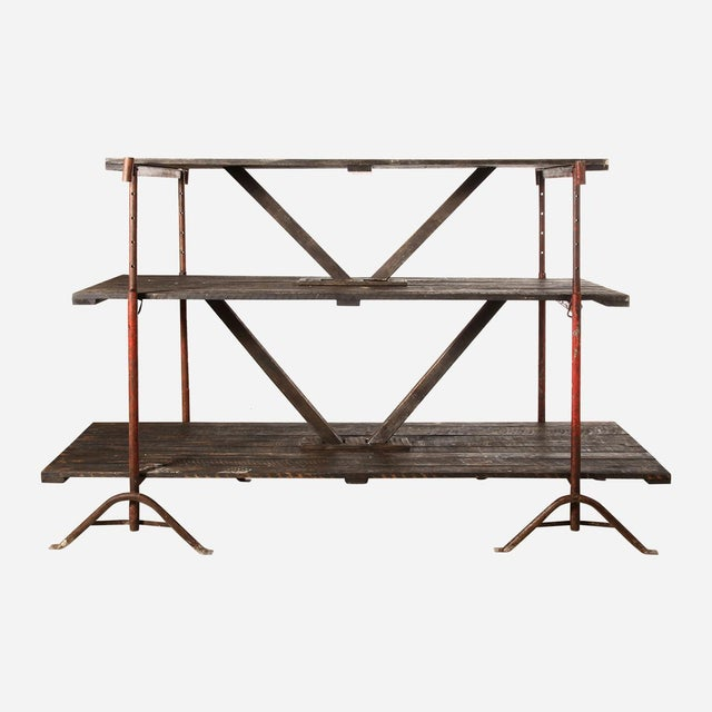 Metal Industrial Wooden Shelving Rack For Sale - Image 7 of 7