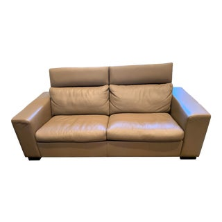 BoConcept Mid Century Leather Sofa With Adjustable Neck Rests For Sale