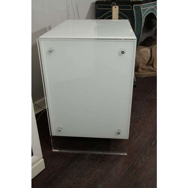 Pair of White Reverse Painted Glass End Tables For Sale In New York - Image 6 of 8
