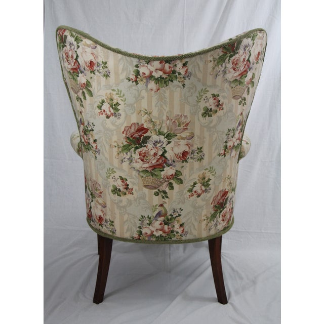 Floral Wingback Armchairs - A Pair - Image 3 of 4