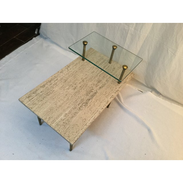 1950's Two Tear Travertine Side Tables - Pair - Image 9 of 11