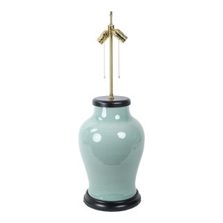 19th Century Chinese Style Celadon Vase Table Lamp For Sale