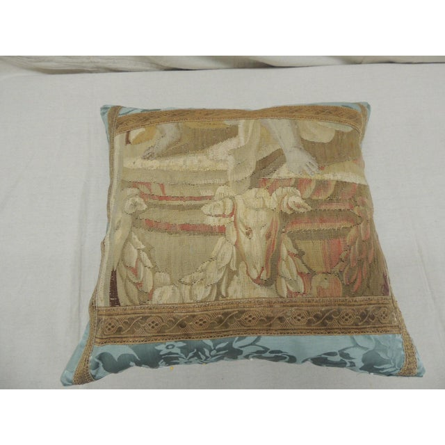 Late 19th Century Antique Aubusson Tapestry Square Decorative Pillow For Sale - Image 5 of 8