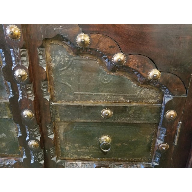Metal Antique Asian Indian Rustic Heavy Metal Hardware Wood Credenza For Sale - Image 7 of 9