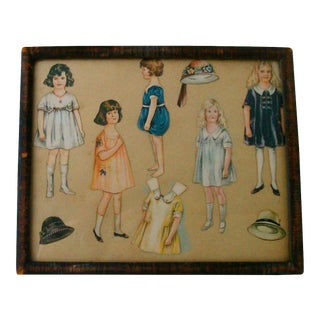 1920s Framed Vintage Paper Doll Collection For Sale