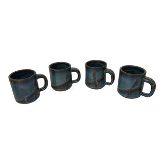 Vintage Hand Thrown Pottery Ceramic Coffee Mugs - Set of 4 For Sale