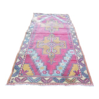 Distressed Oriental Turkish Oushak Carpet, Decorative Rug, Handknotted Wool Carpet for Home & Office Decor 4'6'' X 9'9'' / 138 X 296cm For Sale