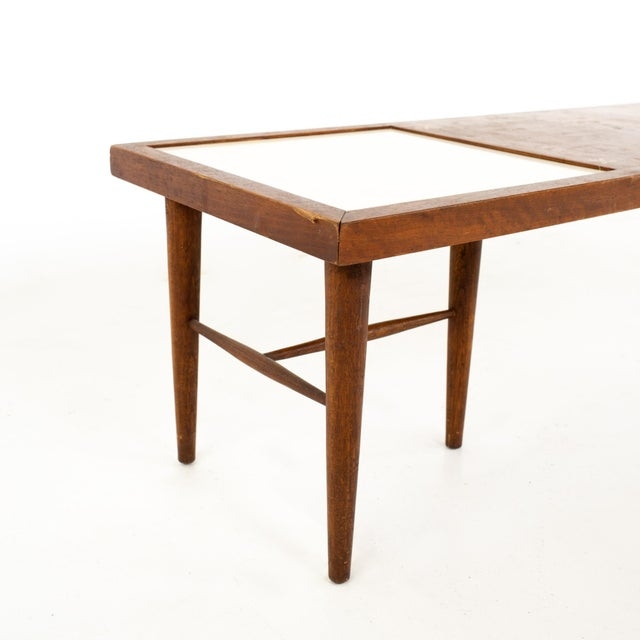 Wood Merton Gershun for American of Martinsville Mid Century X Inlaid Walnut and White Laminate Coffee Table For Sale - Image 7 of 12