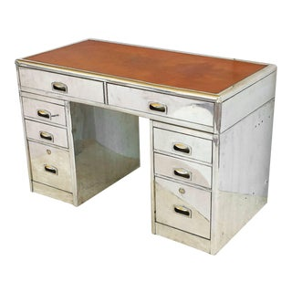 Polished Aluminum English Marine or Nautical Pedestal Desk with Leather Top For Sale