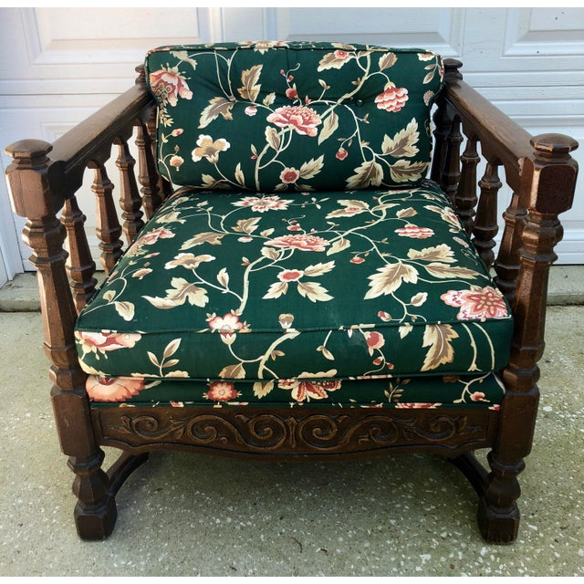 Asian Mid-Century Floral Upholstered Wooden Cube Chair For Sale - Image 3 of 12