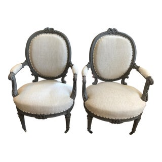 1940s Vintage Grey Painted French Fauteuil Chairs- A Pair For Sale
