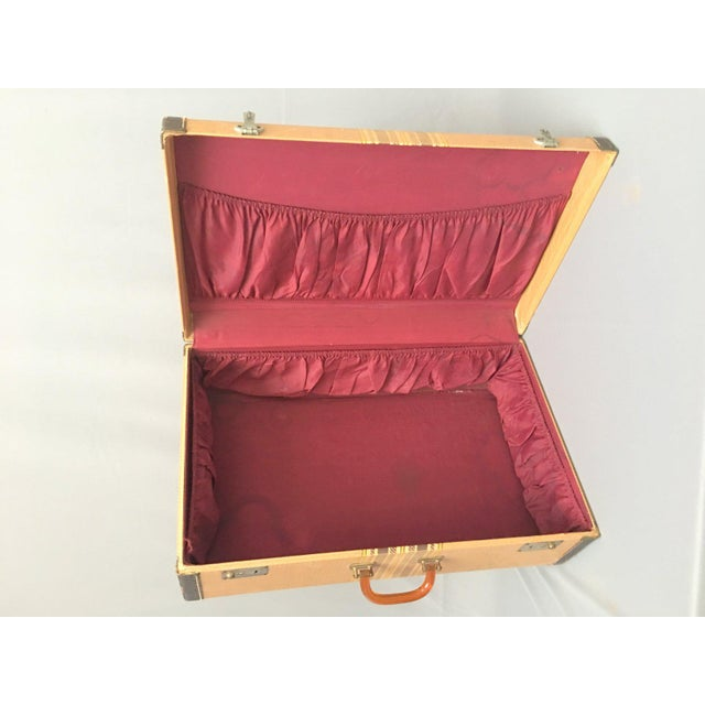 Animal Skin Large Vintage Herringbone Stripe Suitcase With Bakelite Handle For Sale - Image 7 of 11