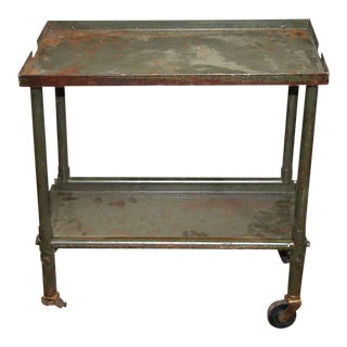 Vintage Small Green Metal Cart For Sale